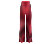 Gestreifte Wide-Leg-Pants mit Wolle