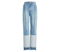 Straight Leg Jeans im Patchwork Look