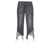 Flared Distressed Jeans Fray Hem