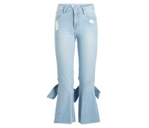 Cropped Jeans im Distressed Look mit Knotendetails