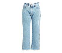 Bedruckte Cropped Stonewashed Jeans