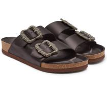 Verzierte Sandalen aus Satin und Leder