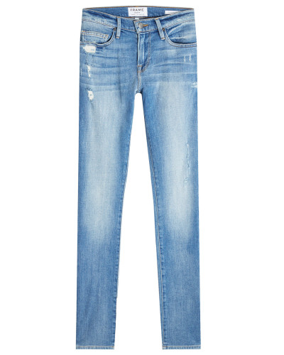 Straight Leg Jeans mit Distressed-Elementen