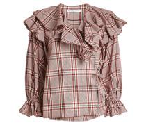 Gemusterte Baumwoll-Bluse Camila mit Rüschen