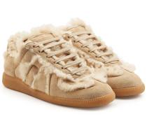 Sneakers Replica aus Lammleder mit Lammfell
