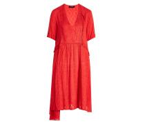 Gemustertes Kleid aus Crêpe mit Biesen und Rüschen