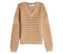 Mesh-Pullover aus Schurwolle