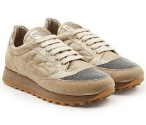 Sneakers aus Veloursleder und Leder mit Décor