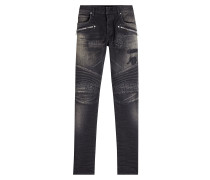Biker Jeans im Distressed Look mit Zippern