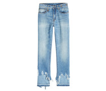 Distressed Straight Leg Jeans Kick Double Shred