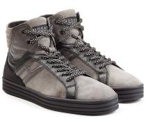 High-Top-Sneakers aus Leder und Veloursleder