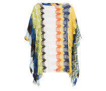Gefranster Strick-Poncho mit Cut-Outs