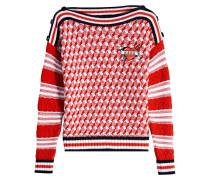 Gemusterter Baumwoll-Pullover mit Stickerei