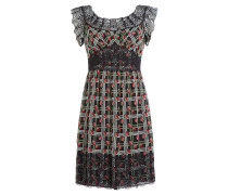 Print-Dress aus Seide mit Spitze