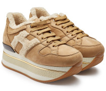 Plateau-Sneakers aus Veloursleder mit Lammfell