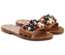 Sandalen aus Leder mit Schmuckperlen und Nieten