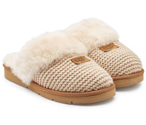 Slippers Cozy Knit mit Lammfell