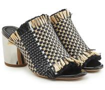 Mules aus Leder mit Block Heel und gewebtem Textil