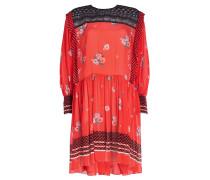 Bedrucktes Kleid mit Spitze