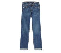 Straight Leg Jeans mit High Low Cut