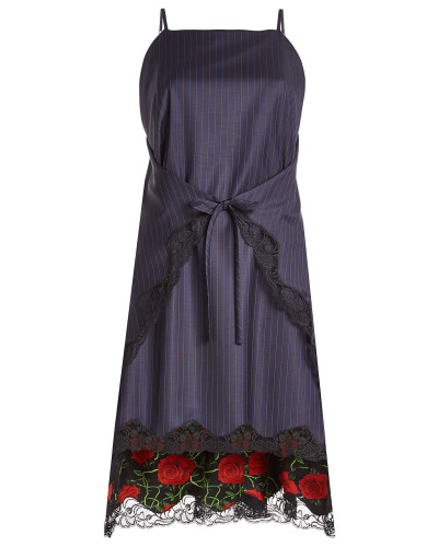 Gestreiftes Kleid aus Schurwolle mit Spitze