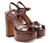 Plateau-Sandalen aus beschichtetem Leder