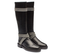 Kniehohe Boots Silver Street aus Leder mit Décor