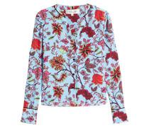 Bedruckte Bluse aus Seide mit Kontrastpaspeln