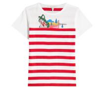 Gestreiftes Baumwoll-T-Shirt mit Décor