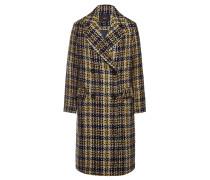 Karierter Mantel mit Wolle und Webpelz-Gürtel