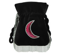 Verzierte Bucket Bag Nano Trilly Disco Moon aus Samt
