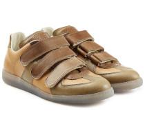 Leder-Sneakers mit Klettverschluss