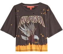 Bedrucktes T-Shirt aus Baumwolle im Used Look