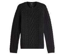Zopfstrick-Pullover aus Schurwolle