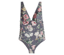 Bedruckter Swimsuit Iris mit Bindedetail