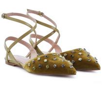 Riemchen-Ballerinas aus Leder und Samt mit Dekor