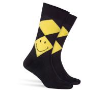 Karierte Socken Smiley Argyle mit Baumwolle