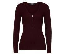 Gerippter V-Pullover aus Jersey mit Zipper