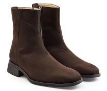 Ankle Boots in Leder-Optik mit Ziernähten