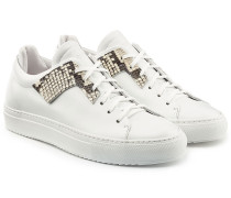 Leder-Sneakers mit Patch