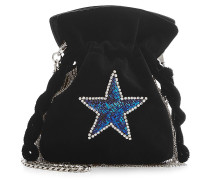 Verzierte Bucket-Bag Nano Trilly Disco Star aus Samt