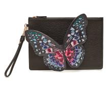 Verzierte Clutch Flossy Embroidered Butterfly aus Leder