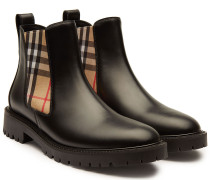 Ankle Boots aus Leder mit Check-Muster