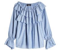 Schulterfreie Volants-Bluse aus Baumwolle
