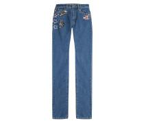 Straight-Leg-Jeans mit Applikationen