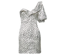 Bedrucktes One-Shoulder-Kleid aus Satin