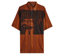 Bedrucktes oversized Hemd mit Mesh