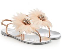 Flache Sandale mit Blumen-Applikation
