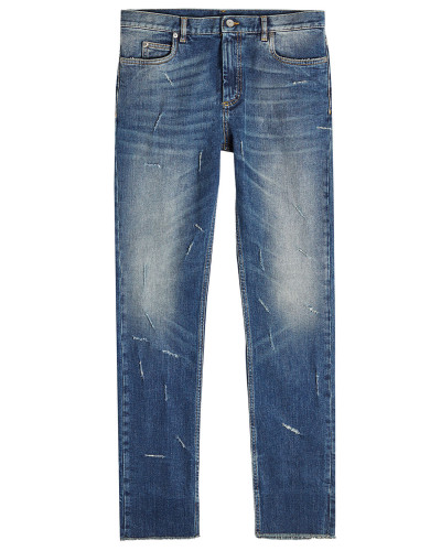 Cropped Straight Leg Jeans mit Distressed-Details