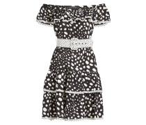 Bedrucktes Off-Shoulder-Kleid aus Seide mit Gürtel